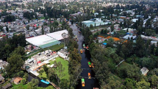 PHOTO: Aerial view of 'Trajineras' in Xochimilco, Mexico City, on Oct. 5, 2019. - Xochimilco, a network of canals and floating gardens that is one of Mexico City's top tourist attractions. (AFP via Getty Images, FILE)