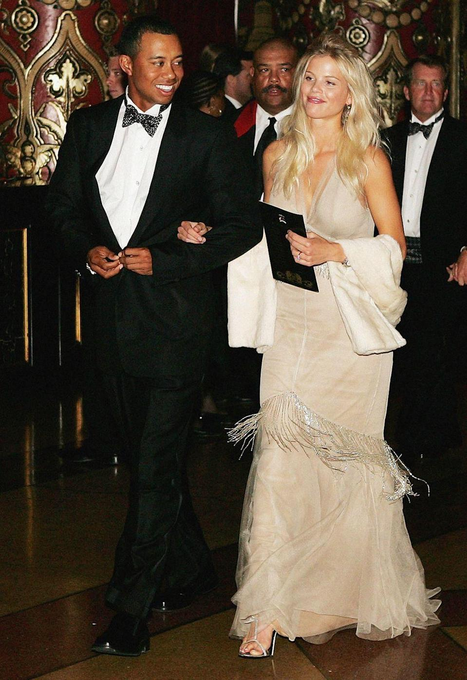 "<p>Things were already going downhill in Woods' marriage with Elin Nordegren when—shortly after he crashed their car in 2009—reports of Woods' <a href=""https://www.thehollywoodgossip.com/2009/12/the-women-of-tiger-woods-full-list--pictures/"" rel=""nofollow noopener"" target=""_blank"" data-ylk=""slk:affairs with multiple women"" class=""link rapid-noclick-resp"">affairs with multiple women</a> came out. Allegedly, he had 13 different partners.</p>"