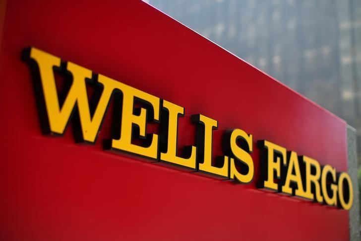 A Wells Fargo bank sign is pictured in downtown Los Angeles
