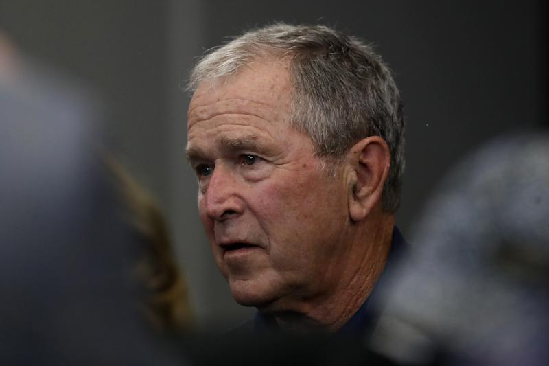 ARLINGTON, TEXAS - OCTOBER 06: Former President George W. Bush attends the NFL game between the Dallas Cowboys and the Green Bay Packers at AT&T Stadium on October 06, 2019 in Arlington, Texas. (Photo by Ronald Martinez/Getty Images)