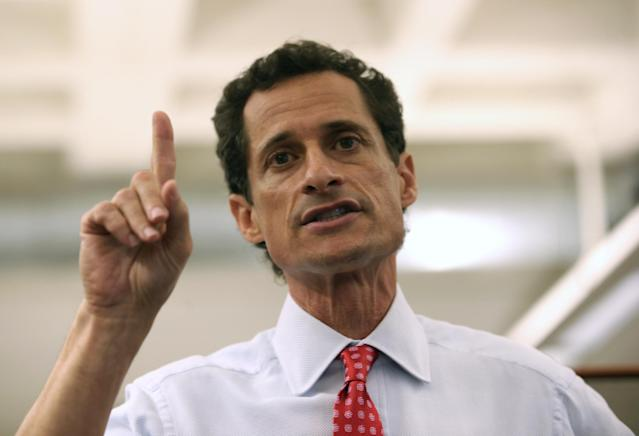 NEW YORK, NY - JULY 23: Anthony Weiner, a leading candidate for New York City mayor, answers questions during a press conference on July 23, 2013 in New York City. Weiner addressed news of new allegations that he engaged in lewd online conversations with a woman after he resigned from Congress for similar previous incidents. (Photo by John Moore/Getty Images)