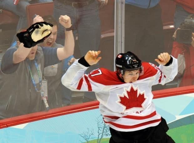 Sidney Crosby celebrates the Golden Goal that gave Canada a 3-2 win over the U.S. in the gold-medal game at the 2010 Olympics in Vancouver on Feb. 28, 2010.
