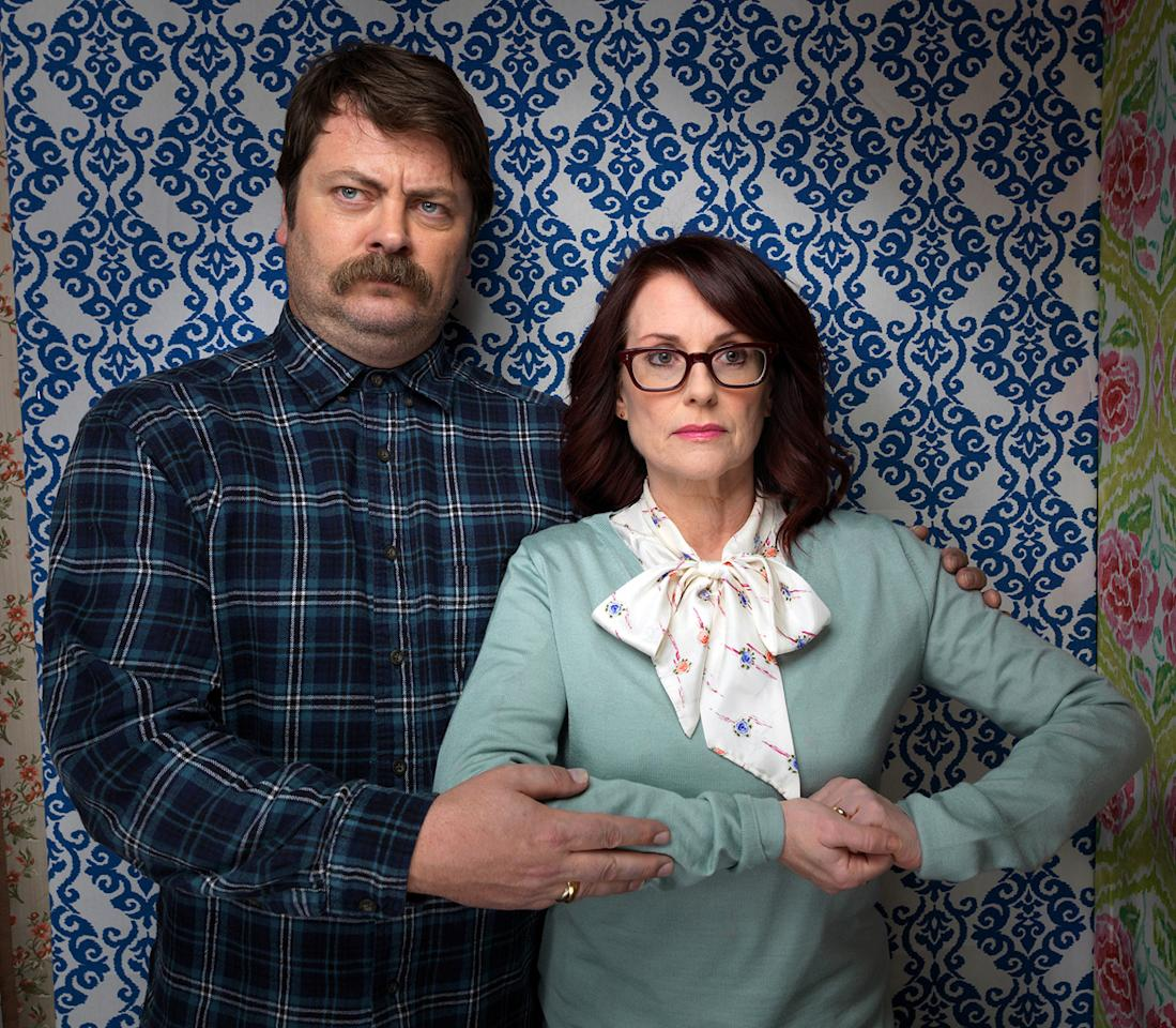 """Nick Offerman, left, and Megan Mullally, from the film """"Smashed,"""" pose  for a portrait during the 2012 Sundance Film Festival on Sunday, Jan.  22, 2012, in Park City, Utah."""