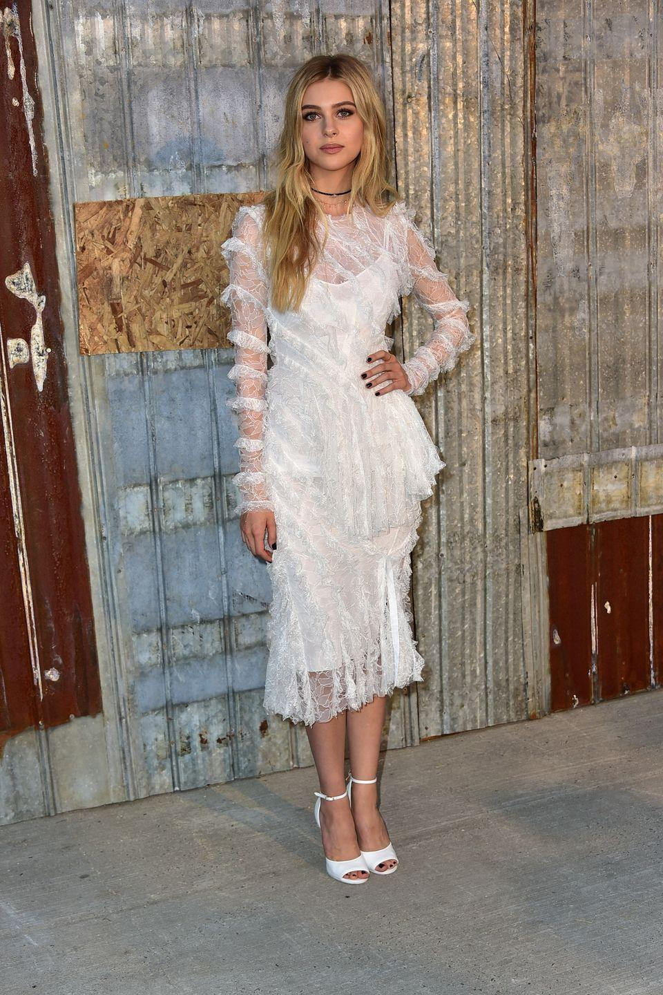 <p>The star wore a white sheer midi dress to the Givenchy show at Pier 26 during New York Fashion Week SS16.</p>
