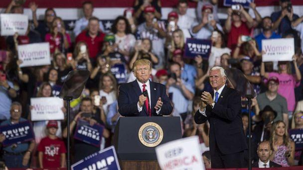 PHOTO: President Donald Trump takes the podium before speaking during a Keep America Great rally, July 17, 2019, in Greenville, North Carolina. (Zach Gibson/Getty Images)