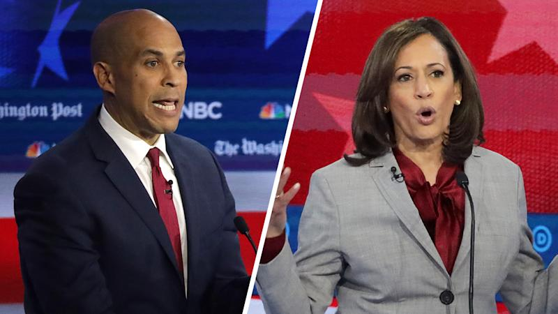 Democratic presidential candidates Democratic Sen. Cory Booker (D-NJ) and Sen. Kamala Harris (D-CA). (Photos: Alex Wong/Getty Images)
