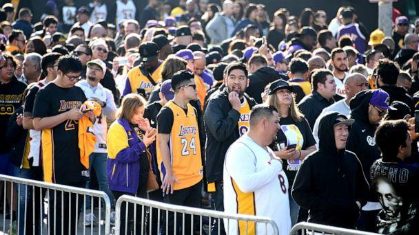 PHOTO: Fans line up outside to Staples Center waiting to enter to attend the memorial to celebrate the life of Kobe Bryant and daughter Gianna Bryant, Los Angeles, Feb. 24, 2020. (Jayne Kamin-Oncea/USA TODAY Sports via Reuters)