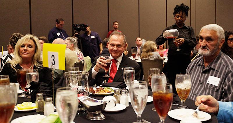 "Judge Roy Moore smiles during an event in Alabama titled ""Freedom Gala: A Celebration of Freedom."" Even there, Alabamans didn't seem to like him."