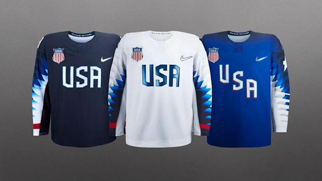 """<p>Also designed by Nike, the uniforms feature """"USA"""" emblazoned across the chest and icy blue """"spike"""" graphic sleeves. (Photo: courtesy of Nike) </p>"""