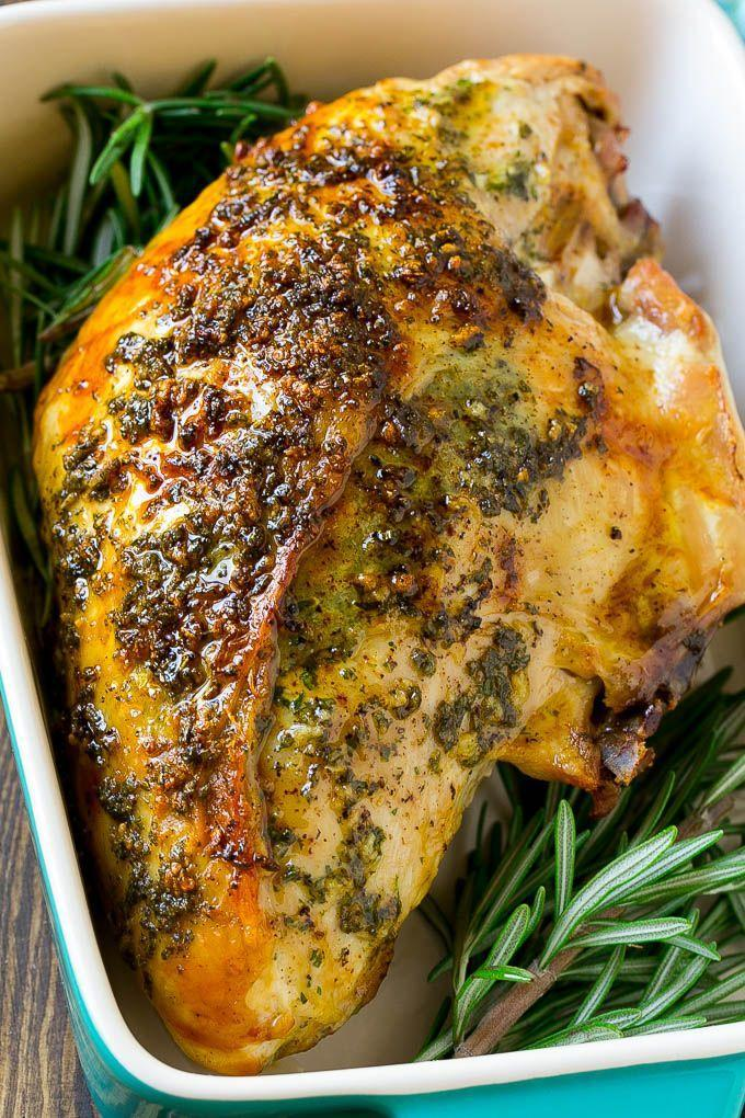 """<p>A small gathering means it doesn't make sense to serve a whole turkey. If you're feeding 2-4 people, buy just a half of a turkey breast. If you're feeding 6-8, you can buy a whole breast and roast it. Either way it'll take far less time, and this buttery herby recipe will absolutely satisfy.</p><p><strong>Get the recipe at <a href=""""https://www.dinneratthezoo.com/roasted-turkey-breast/"""" rel=""""nofollow noopener"""" target=""""_blank"""" data-ylk=""""slk:Dinner at the Zoo"""" class=""""link rapid-noclick-resp"""">Dinner at the Zoo</a>.</strong></p><p><a class=""""link rapid-noclick-resp"""" href=""""https://www.amazon.com/dp/B074Z5X8MT?tag=syn-yahoo-20&ascsubtag=%5Bartid%7C10050.g.34645538%5Bsrc%7Cyahoo-us"""" rel=""""nofollow noopener"""" target=""""_blank"""" data-ylk=""""slk:SHOP BAKING PANS"""">SHOP BAKING PANS</a></p>"""