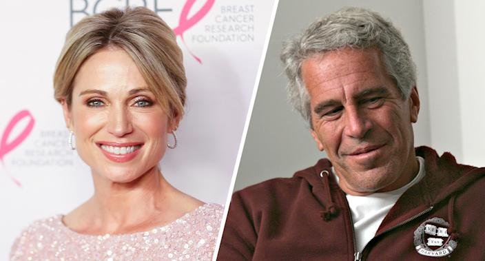 TV personality Amy Robach and Jeffrey Epstein. (Photos: Bennett Raglin/Getty Images,  Rick Friedman Photography/Corbis via Getty Images)