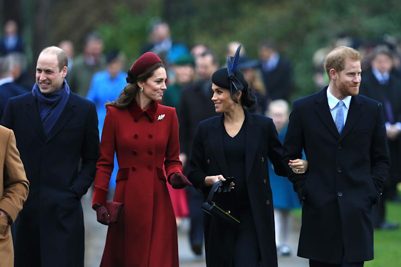 Prince William, Kate Middleton, Meghan Markle, and Prince Harry all look dazzling in this picture.