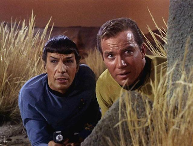 Leonard Nimoy as Mr. Spock and William Shatner as Captain Kirk in 'Star Trek.' (Photo by CBS Photo Archive/Getty Images)