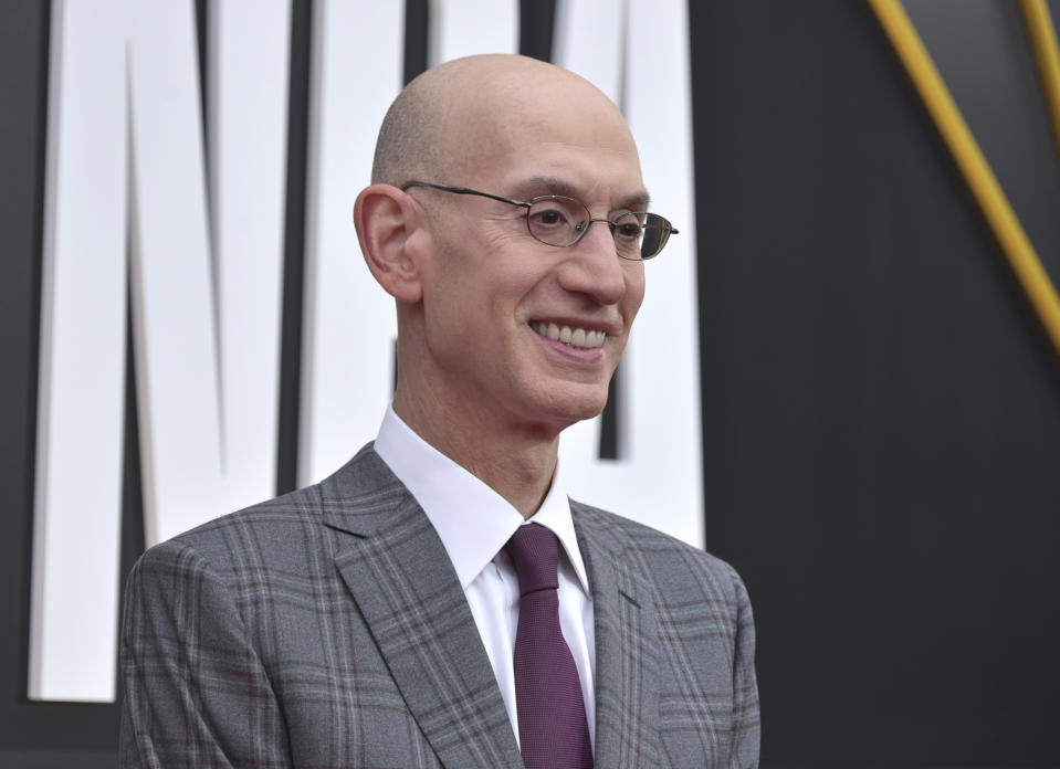 NBA Commissioner Adam Silver arrives at the NBA Awards on Monday, June 24, 2019, at the Barker Hangar in Santa Monica, Calif. (Photo by Richard Shotwell/Invision/AP)