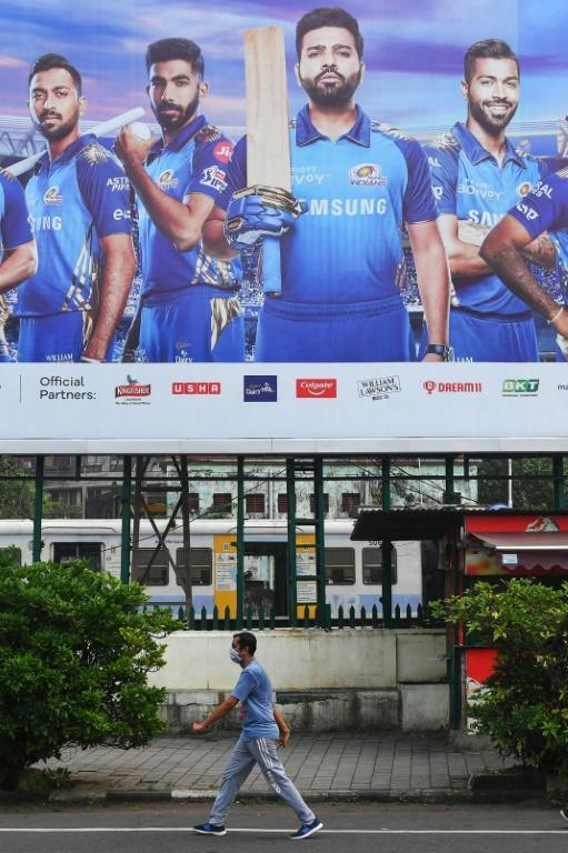 Mumbai Indians cricketers on an advertising billboard in Mumbai