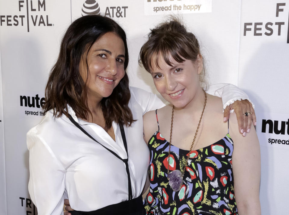 """FILE - In this April 22, 2017, file photo, producers Jenni Konner, left, and Lena Dunham attend a screening of """"Tokyo Project"""" during the 2017 Tribeca Film Festival in New York. Now that HBO's """"Girls"""" has wrapped its six-year run, the women behind the series are focusing on their other female-centered project: turning their biweekly digital newsletter, Lenny, into a real-life experience. Dunham and Konner announced a six-city tour Tuesday, April 25 that will bring LennyLetter.com to life as a variety show. (Photo by Brent N. Clarke/Invision/AP, File)"""