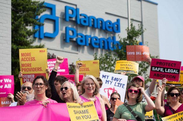 PHOTO: Pro-choice supporters and staff of Planned Parenthood hold a rally outside the Planned Parenthood Reproductive Health Services Center in St. Louis, May 31, 2019, the last location in the state performing abortions. (Saul Loeb/AFP/Getty Images)