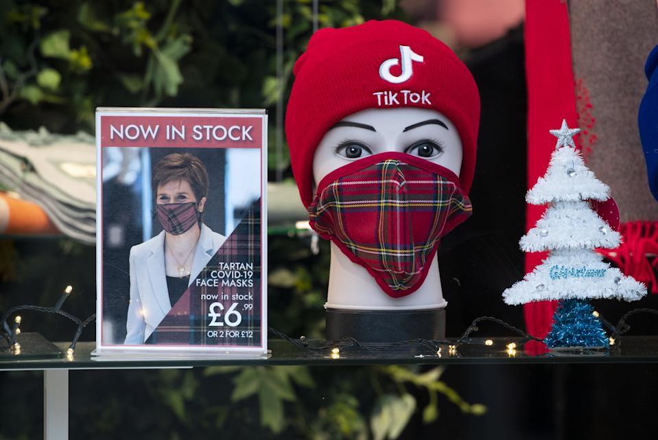 Face mask display in a shop window on Edinburgh's Princes Street. Scotland is currently using a tier system to try and drive down coronavirus cases. (Photo by Jane Barlow/PA Images via Getty Images)