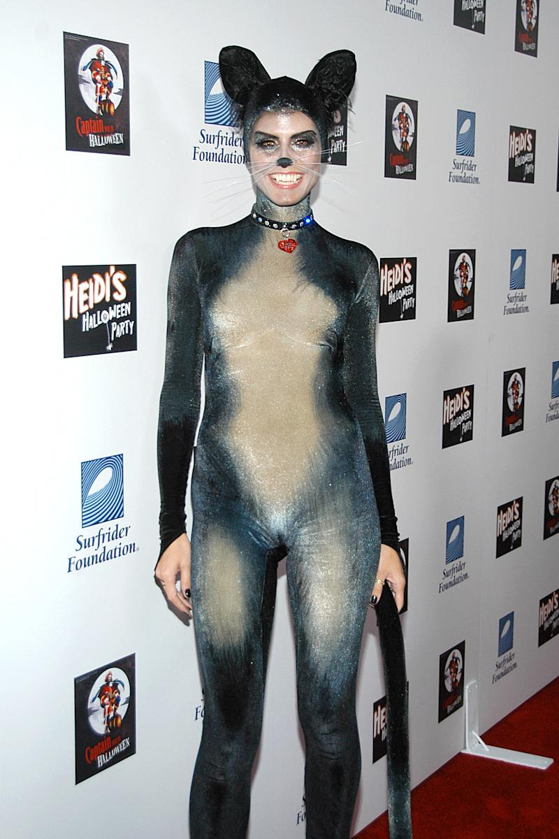 Heidi Klum dressed as a cat attends Heidi Klum's 8th Annual Halloween Party at The Green Door on October 31, 2007 in Los Angeles, CA. Photo courtesy of Getty Images.
