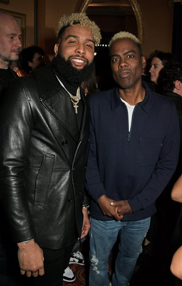 Odell Beckham Jr. and Chris Rock attend the Victoria Beckham x YouTube Fashion & Beauty after party at London Fashion Week hosted by Derek Blasberg & David Beckham at Mark's Club on February 17, 2019 in London, England.