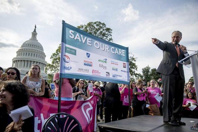 Senate Minority Leader Chuck Schumer, D-N.Y., speaks at a rally against the Senate GOP health care bill, June 28, 2017. (Photo: Andrew Harnik/AP)