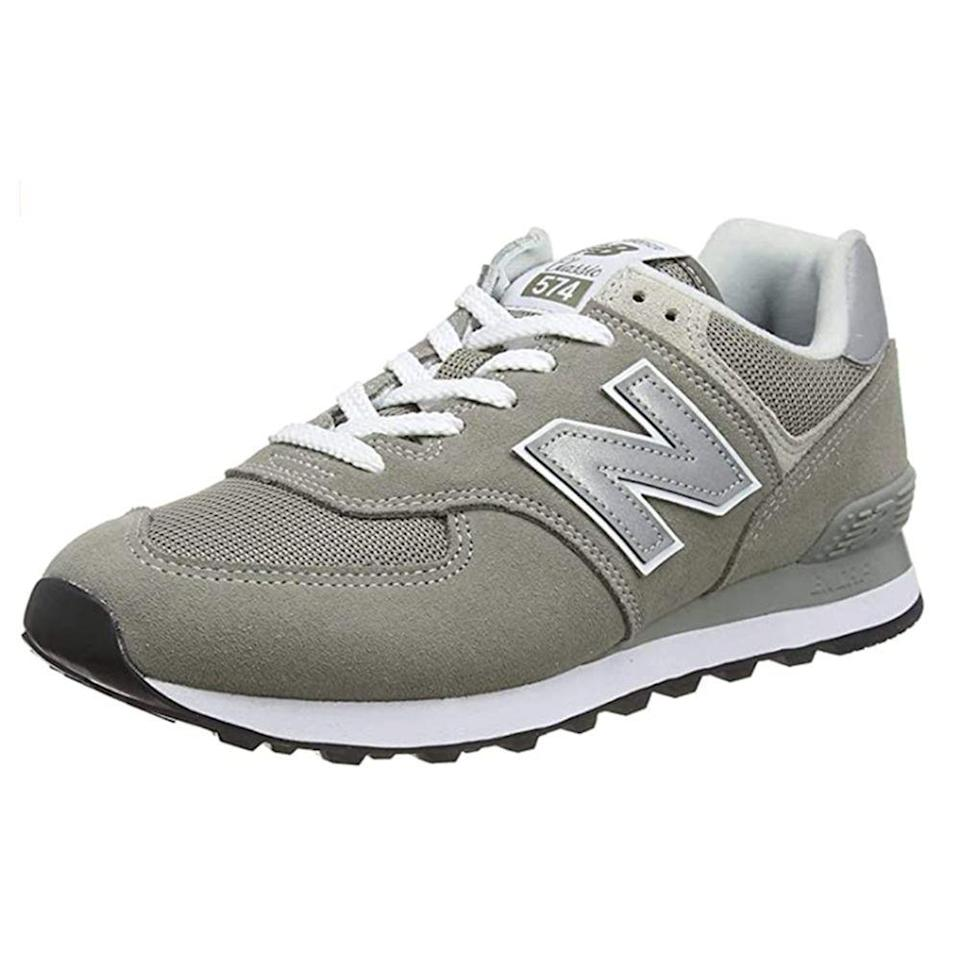 """<p><strong>New Balance</strong></p><p>amazon.com</p><p><strong>$79.95</strong></p><p><a href=""""https://www.amazon.com/dp/B06Y2TS8MH?tag=syn-yahoo-20&ascsubtag=%5Bartid%7C2139.g.36007474%5Bsrc%7Cyahoo-us"""" rel=""""nofollow noopener"""" target=""""_blank"""" data-ylk=""""slk:BUY IT HERE"""" class=""""link rapid-noclick-resp"""">BUY IT HERE</a></p><p>An oldie but a goodie, the New Balance 574 is even better with two-day free shipping. As one of the 18,000 five-star reviewers put it (and quite eloquently, if I do say so myself), """"Not only do they have the classic look of a New Balance, but the soft and spongy soles keep you bouncing with a gait generally only carried by cold-blooded pimps. If you wanna spread your bloodline throughout your town with reckless abandon...BUY NOW!!!"""" </p>"""