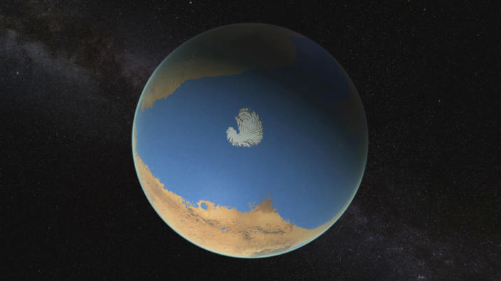 An image provided by NASA's Goddard Space Flight Center that depicts an ocean that might have once covered northern Mars. (NASA Goddard Space Flight Center via The New York Times)