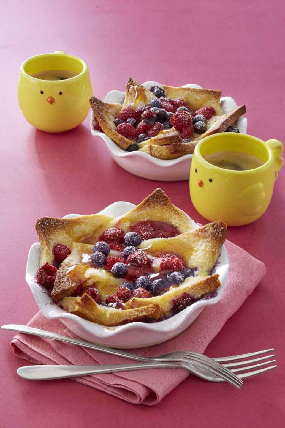 """<p>Why eat cereal when you can now enjoy French toast in a bowl? Don't forget to top the toast with ripe berries and maple syrup — or better yet, your mother's favorite toppings. </p><p><strong><a href=""""https://www.womansday.com/food-recipes/recipes/a58132/french-toast-bowls-recipe/"""" rel=""""nofollow noopener"""" target=""""_blank"""" data-ylk=""""slk:Get the French Toast Bowls recipe."""" class=""""link rapid-noclick-resp""""><em>Get the French Toast Bowls recipe.</em></a></strong></p>"""