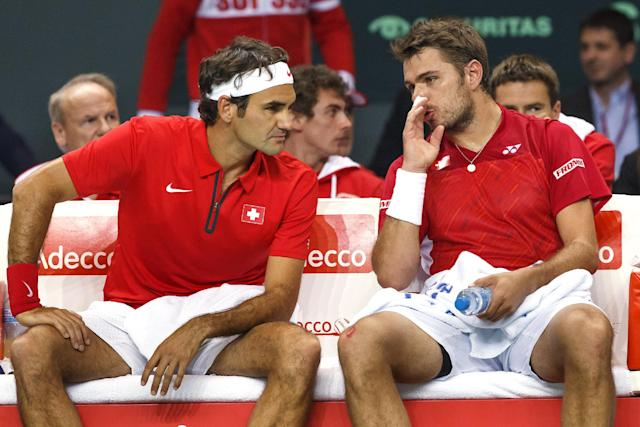 The Swiss dream team in doubles in April against Kazakhstan.(AP Photo/Keystone,Salvatore Di Nolfi)