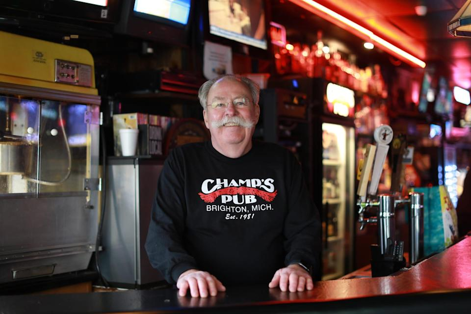 David Beauchamp, 73, has owned and operated Champs Pub in Brighton, Mich. for 39 years and says it has been a good business for him. Recently Champs has been selected to receive a financial lifeline from the Barstool fund founded by Dave Portnoy to aid small businesses struggling to stay afloat during the coronavirus pandemic.