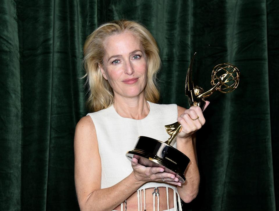 """Gillian Anderson won for best supporting actress in a limited series for her role as Margaret Thatcher on """"The Crown."""""""