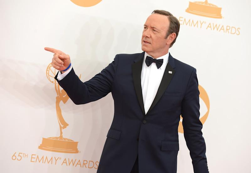 Kevin Spacey arrives at the 65th Primetime Emmy Awards at Nokia Theatre on Sunday Sept. 22, 2013, in Los Angeles. (Photo by Jordan Strauss/Invision/AP)