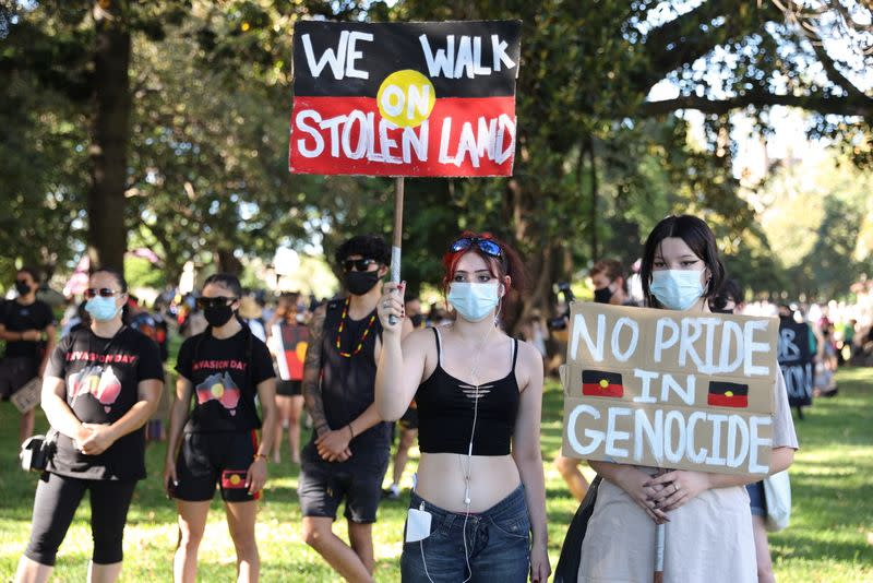 Protesters gather on Australia Day in Sydney