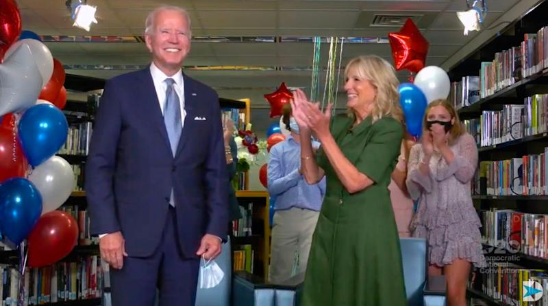 Joe Biden is applauded by his wife Jill and family members after being officially nominated as the Democratic presidential candidate at the DNC on 18 August, 2020: Democratic National Convention