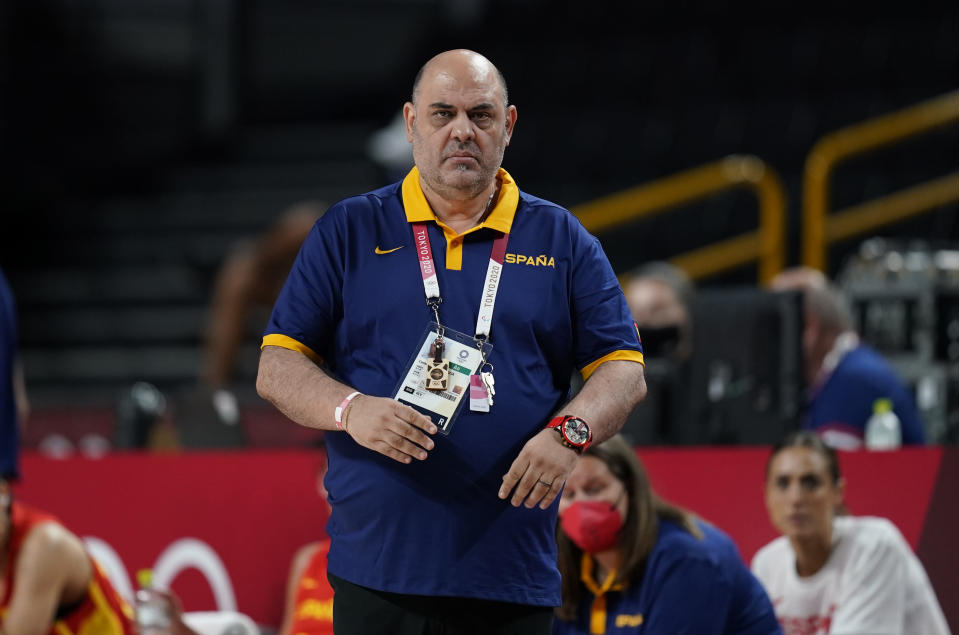Spain's head coach Lucas Garcia watches during women's basketball preliminary round game between South Korea and Spain at the 2020 Summer Olympics, Monday, July 26, 2021, in Saitama, Japan. (AP Photo/Charlie Neibergall)