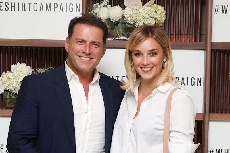 Karl Stefanovic & Jasmine Yarbrough attend the Witchery x OCRF White Shirt Campaign Launch on April 4, 2018 in Sydney, Australia.