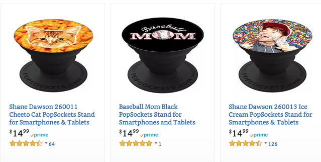 Merch by Amazon rolls out popsockets this year and some sellers see it as a hit. (Screenshot/Amazon.com)