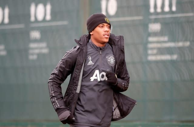 Anthony Martial was injured in training on Wednesday (Martin Rickett/PA)