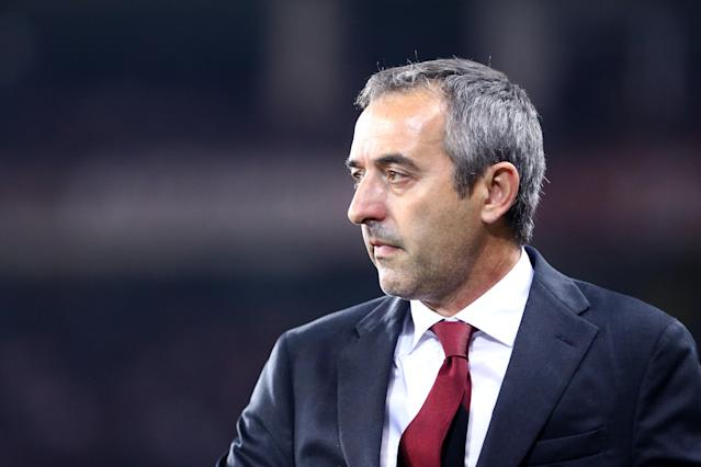STADIO GRANDE TORINO, TORINO, ITALY - 2019/09/26: Marco Giampaolo, head coach of Ac Milan, looks on before the the Serie A match between Torino FC and Ac Milan. Torino Fc wins 2-1 over Ac Milan. (Photo by Marco Canoniero/LightRocket via Getty Images)