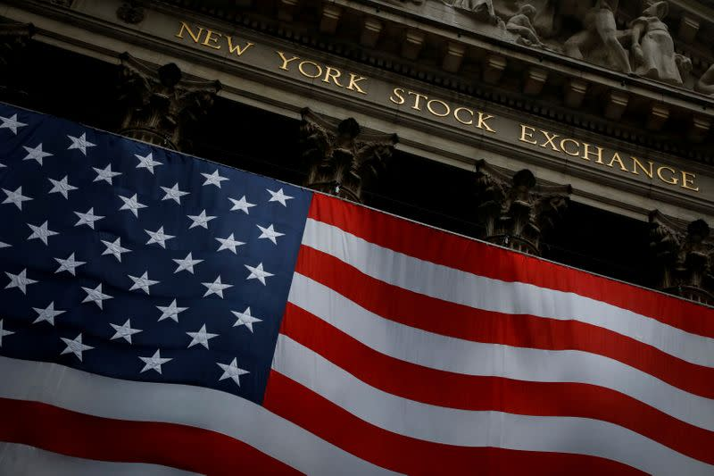 FILE PHOTO: The New York Stock Exchange (NYSE) is seen in the financial district of lower Manhattan during the outbreak of the coronavirus disease (COVID-19) in New York