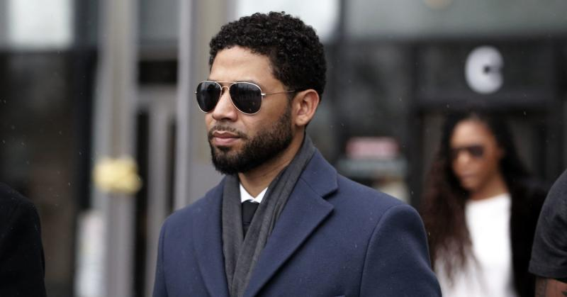 Actor Jussie Smollett leaves Leighton Criminal Courthouse after his court appearance on March 14, 2019 in Chicago, Illinois. Smollett stands accused of arranging a homophobic, racist attack against himself in an attempt to raise his profile because he was dissatisfied with his salary on the Fox television drama 'Empire.'