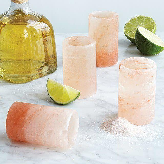 "There's nothing quite like tequila and you can do shots in your kitchen with these glasses that are hand-carved from Himalayan salt. <a href=""https://fave.co/3603Krl"" rel=""nofollow noopener"" target=""_blank"" data-ylk=""slk:Find the set of four for $28 at Uncommon Goods"" class=""link rapid-noclick-resp"">Find the set of four for $28 at Uncommon Goods</a>."