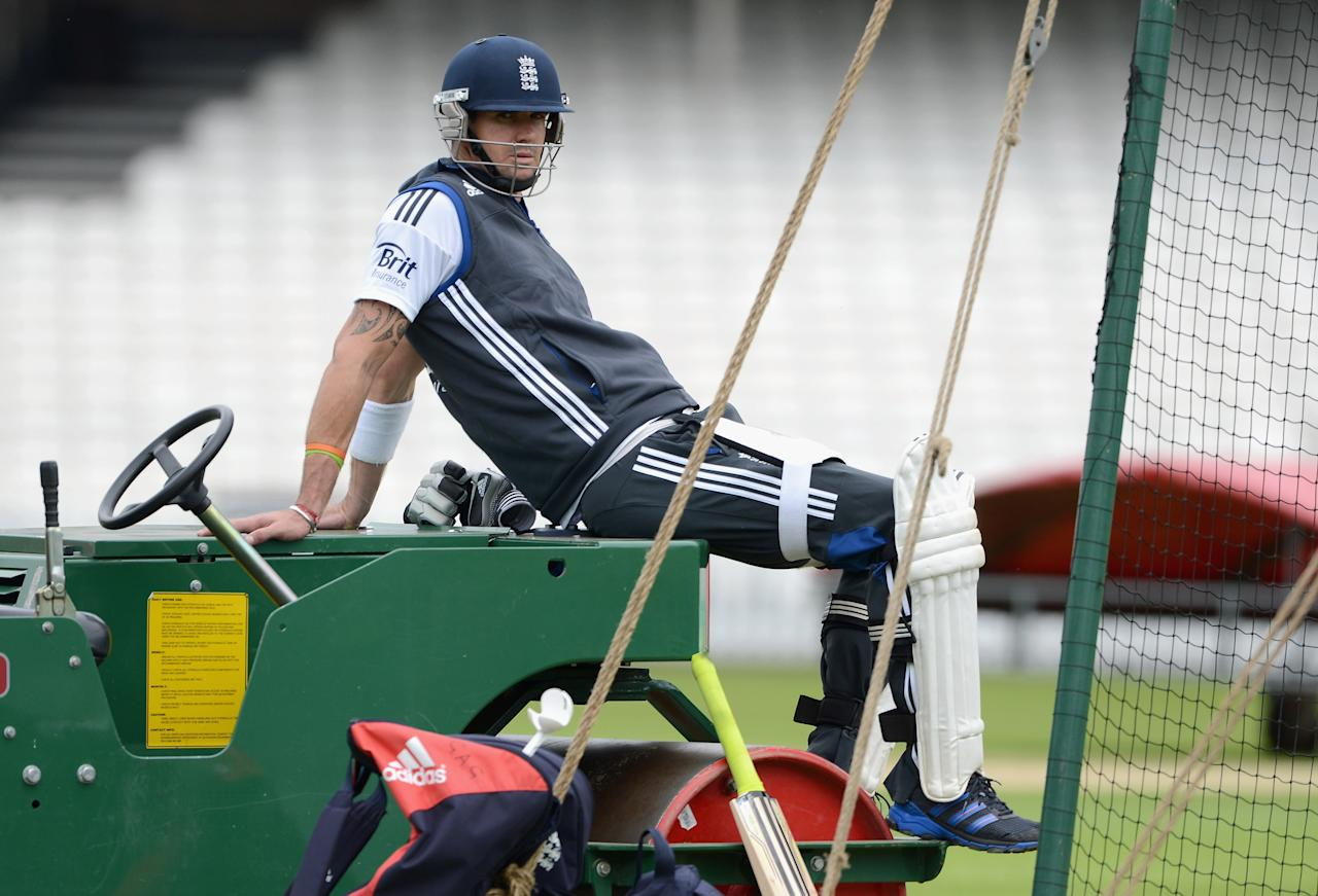 LONDON, ENGLAND - JULY 17:  Kevin Pietersen of England waits to bat during a nets session at The Kia Oval on July 17, 2012 in London, England.  (Photo by Gareth Copley/Getty Images)