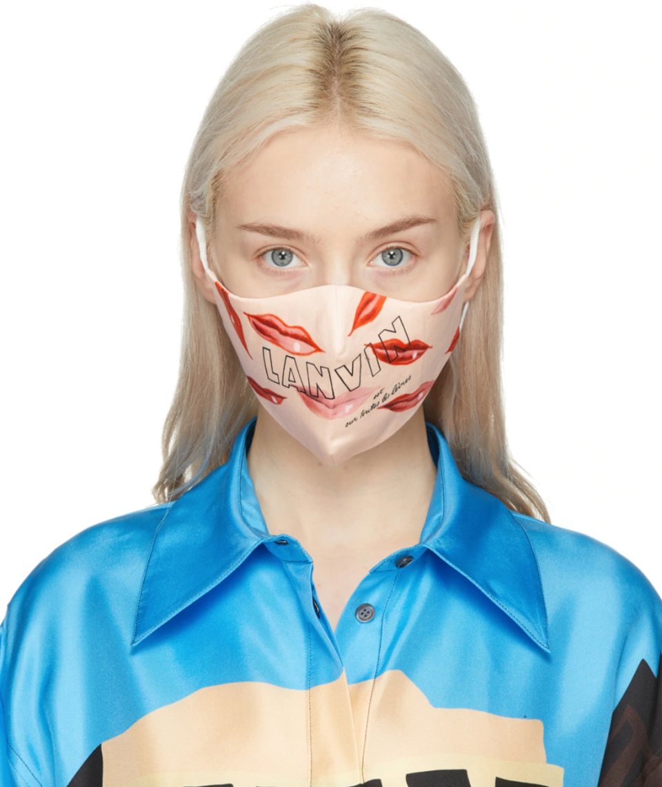 Lanvin Two-Pack Pink Silk Lips Mask (Photo via SSENSE)