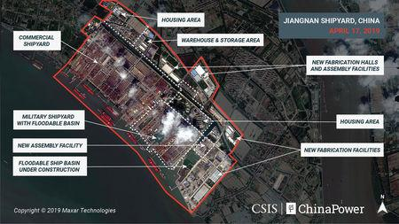 A satellite image shows what appears to be the construction of a third Chinese aircraft carrier at the Jiangnan Shipyard in Shanghai, China April 17, 2019. Image taken April 17, 2019. CSIS/ChinaPower/Maxar Technologies 2019/Handout via REUTERS