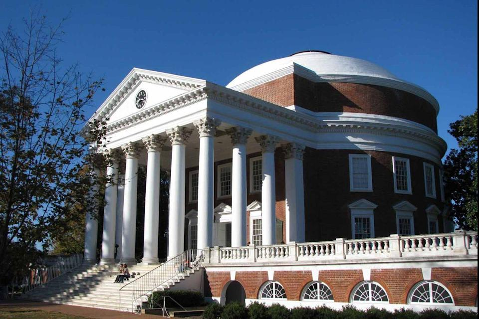 """<p>Modeled after the proportions of the second century Pantheon in Rome, the Rotunda on the lawn at the <a href=""""https://www.virginia.edu/"""" rel=""""nofollow noopener"""" target=""""_blank"""" data-ylk=""""slk:University of Virginia"""" class=""""link rapid-noclick-resp"""">University of Virginia</a> was designed by Thomas Jefferson to represent """"the authority of nature and the power of reason."""" Construction began in 1822 and was completed in 1826, after Jefferson died; it was constructed with slave labor. The structure, which features Corinthian columns supporting the portico, also reflects Palladio's influence over Jefferson.</p>"""