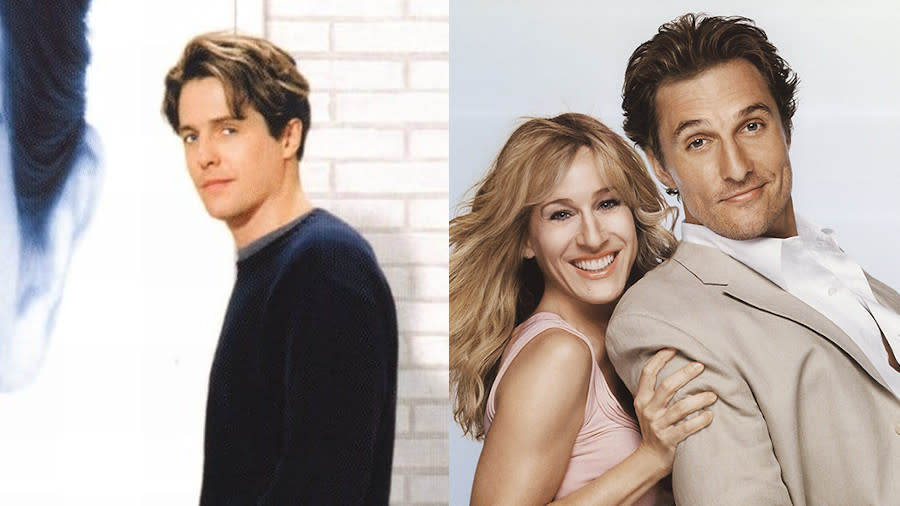 Hugh Grant and Matthew McConaughey were romcom stalwarts in the 1990s and 2000s. (Credit: PolyGram/Paramount)
