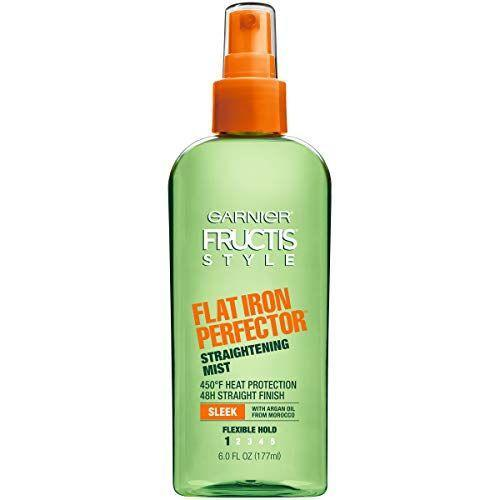 """<p><strong>Garnier</strong></p><p>amazon.com</p><p><strong>$5.99</strong></p><p><a href=""""https://www.amazon.com/dp/B0058CJV50?tag=syn-yahoo-20&ascsubtag=%5Bartid%7C2164.g.34919086%5Bsrc%7Cyahoo-us"""" rel=""""nofollow noopener"""" target=""""_blank"""" data-ylk=""""slk:Shop Now"""" class=""""link rapid-noclick-resp"""">Shop Now</a></p><p>Mist this on before reaching for your flat iron to achieve smooth and sleek hair. It's formulated like a flexible hairspray to help keep your hair straight for up to 48 hours. </p>"""