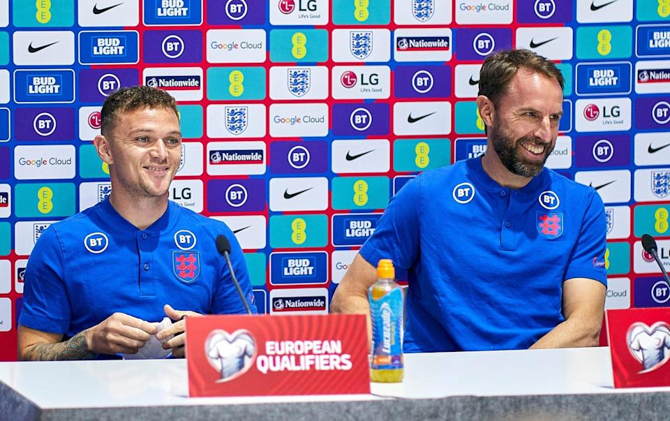 Kieran Trippier and Gareth Southgate, head coach of England during a press conference ahead of the FIFA World Cup 2022 Qatar qualifying - Getty Images