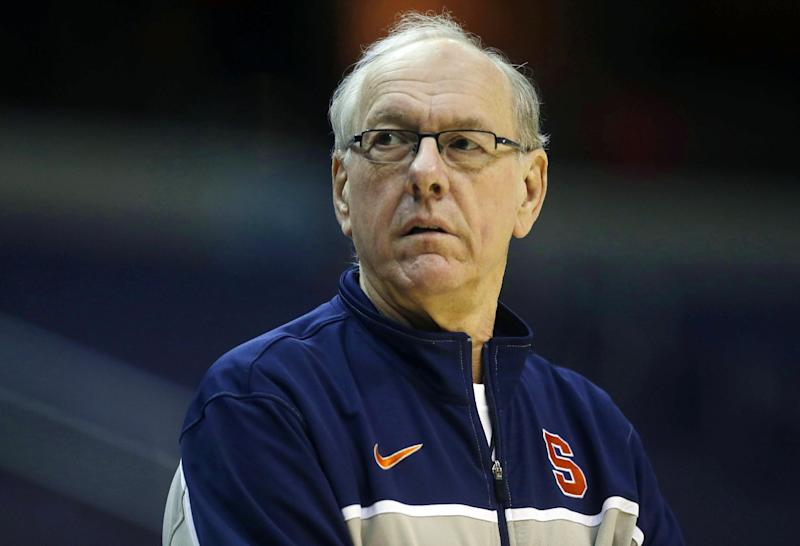 Syracuse coach Jim Boeheim watches during practice for a regional semifinal game in the NCAA college basketball tournament, Wednesday, March 27, 2013, in Washington. Syracuse plays Indiana on Thursday. (AP Photo/Pablo Martinez Monsivais)